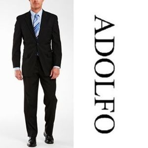 NEW Adolfo Black Wool Men's Suit Size 56 Regular